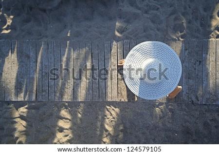 Rushing to the beach - stock photo
