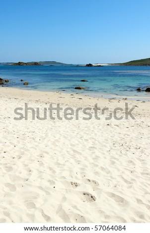 Rushy bay beach, Bryher Isles of Scilly. - stock photo
