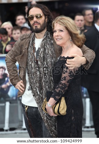 Russell Brand and mother arriving for the Rock Of Ages Premiere, Odeon Leicester Square, London. 10/06/2012 Picture by: Alexandra Glen / Featureflash - stock photo