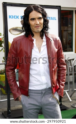 Russell Brand at the Los Angeles premiere of 'Hop' held at the Universal Studios Hollywood in Universal City on March 27, 2011.   - stock photo