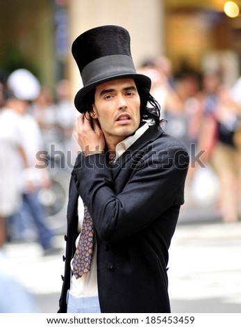 Russell Brand during filming of the movie 'Arthur' in New York on Tuesday out and about for CELEBRITY CANDIDS - TUESDAY, , New York, NY August 3, 2010