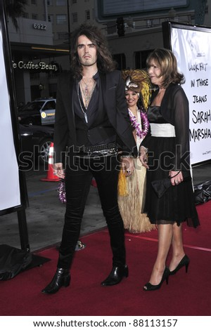 """Russell Brand & mother at world premiere of his new movie """"Forgetting Sarah Marshall"""" at Grauman's Chinese Theatre, Hollywood. April 10, 2008  Los Angeles, CA Picture: Paul Smith / Featureflash - stock photo"""