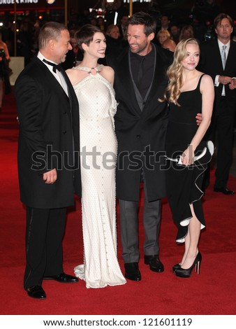 Russell Crowe, Anne Hathaway, Hugh Jackman and Amanda Seyfried arriving for the premiere of 'Les Miserables' at Leicester Square, London. 05/12/2012 Picture by: Alexandra Glen - stock photo