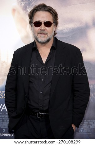 Russell Crowe at the Los Angeles premiere of 'The Water Diviner' held at the TCL Chinese Theatre IMAX in Hollywood, USA on April 16, 2015.  - stock photo