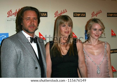 Russell Crowe with Terri Irwin and Naomi Watts at the G'Day USA Penfolds Black Tie Icon Gala. Hyatt Regency Century Plaza, Los Angeles, CA. 01-13-07 - stock photo