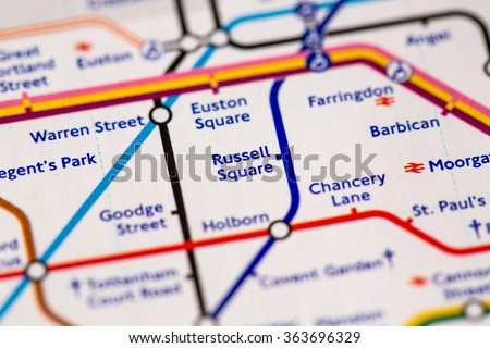 Russell Square Station on a map of the Piccadilly metro line in London, UK. - stock photo
