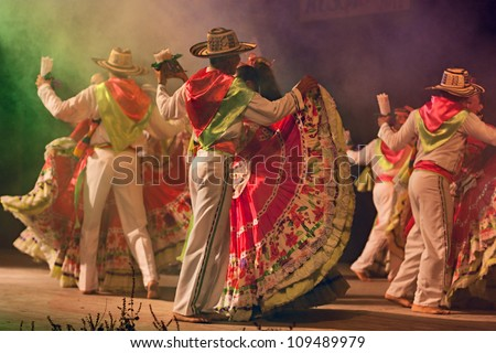 RUSSI, ITALY - AUGUST 5: ensemble Jocaycu from Colombia - colombian dancers in traditional dress performs popular dance during the International folk festival on August 5, 2012 in Russi, Ravenna, Italy