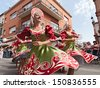 RUSSI, RA, ITALY - AUGUST 4: the ensemble Metelitsa from Novosibirsk, Russia, performs folk dances during the International Folklore Festival of Russi on August 4, 2013 in Russi, RA, Italy - stock photo