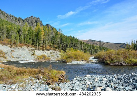 Russia, Altai Republic, Ust-Koksinsky district, Acchan (Akchan) river in september