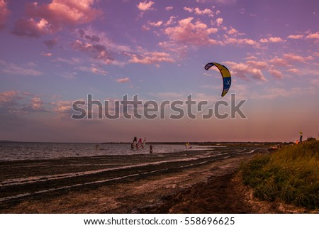 RUSSIA, Anapa - AUGUST 10, 2016: Flying paraglider on the Azov Sea