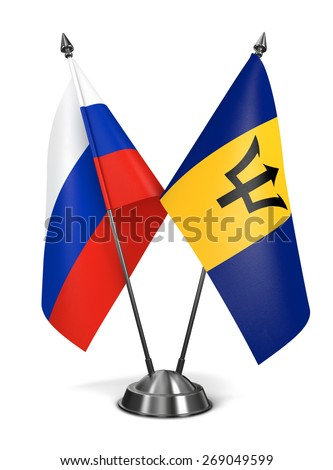 Russia and Barbados - Miniature Flags Isolated on White Background. - stock photo