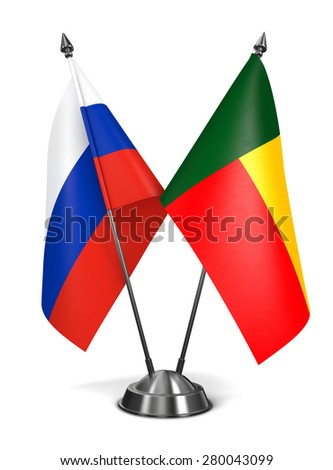 Russia and Benin - Miniature Flags Isolated on White Background. - stock photo
