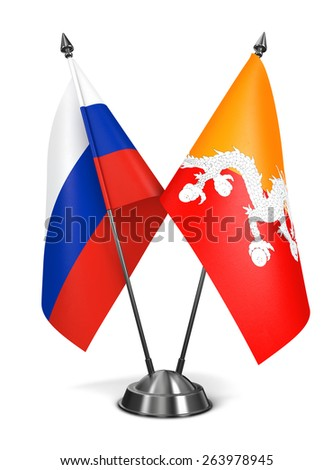 Russia and Bhutan - Miniature Flags Isolated on White Background. - stock photo