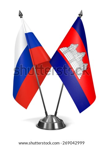 Russia and Cambodia - Miniature Flags Isolated on White Background. - stock photo