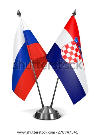 Russia and Croatia - Miniature Flags Isolated on White Background. - stock photo