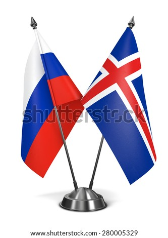 Russia and Iceland - Miniature Flags Isolated on White Background. - stock photo