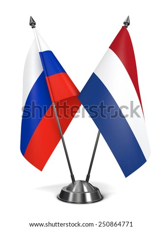 Russia and Netherlands - Miniature Flags Isolated on White Background. - stock photo