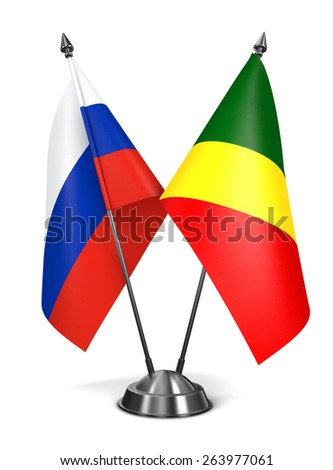 Russia and Republic Congo - Miniature Flags Isolated on White Background. - stock photo