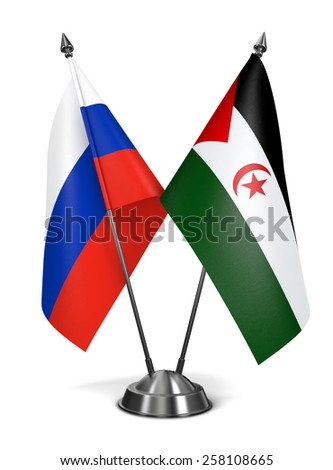 Russia and Sahrawi Arab Democratic Republic - Miniature Flags Isolated on White Background. - stock photo