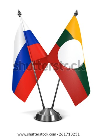 Russia and Shan State - Miniature Flags Isolated on White Background. - stock photo