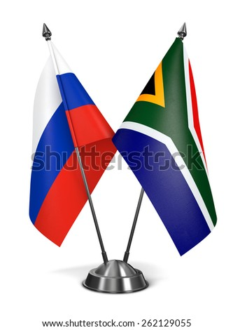 Russia and South Africa - Miniature Flags Isolated on White Background. - stock photo