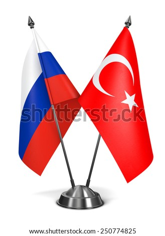Russia and Turkey - Miniature Flags Isolated on White Background. - stock photo