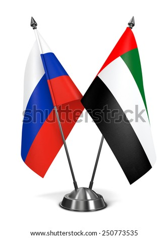 Russia and United Arab Emirates - Miniature Flags Isolated on White Background. - stock photo