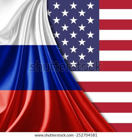 Russia and USA flag - stock photo