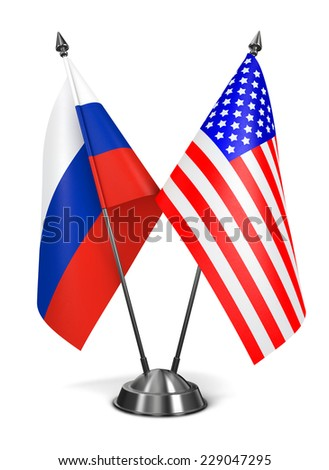 Russia and USA - Miniature Flags Isolated on White Background. - stock photo