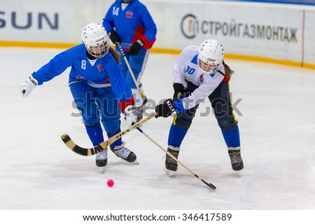 RUSSIA, BALASHIKHA - OCTOBER 26, 2015: Vimpel taining camp girls under 15, hockey League bandy, Russia.