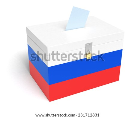 Russia ballot box with Russian Flag. Isolated on white background. - stock photo