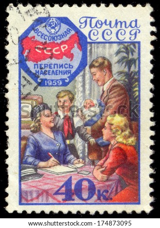 RUSSIA - CIRCA 1959: A post stamp printed in Russia devoted All-USSR population census. circa 1959 - stock photo