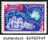 RUSSIA - CIRCA 1970: A stamp printed by Russia, shows Map of Antarctic, Mirny and Vostok, circa 1970 - stock photo