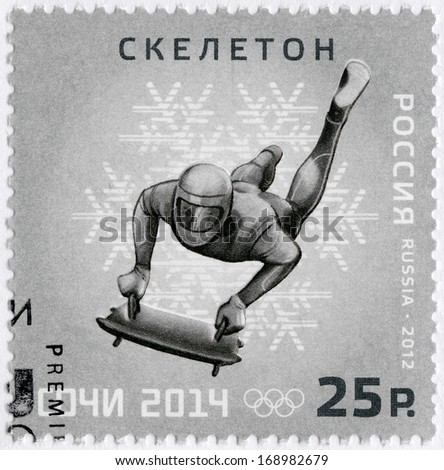 RUSSIA - CIRCA 2012: A stamp printed in Russia shows XXII Olympic Winter Games in Sochi 2014, Olympic winter Sports, skeleton, circa 2012