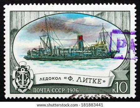 RUSSIA - CIRCA 1976: a stamp printed in the Russia shows Fedor Litke, Icebreaker, circa 1976 - stock photo