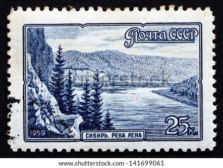 RUSSIA - CIRCA 1959: a stamp printed in the Russia shows Lena River, Siberia, circa 1959 - stock photo