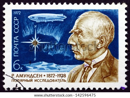 RUSSIA - CIRCA 1972: a stamp printed in the Russia shows Roald Amundsen and Northern Lights, Norwegian Explorer of Polar Regions, circa 1972 - stock photo