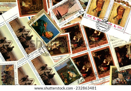 RUSSIA - CIRCA 1960-1980: Art. Background of the postage stamps issued in the Soviet Union (USSR). - stock photo