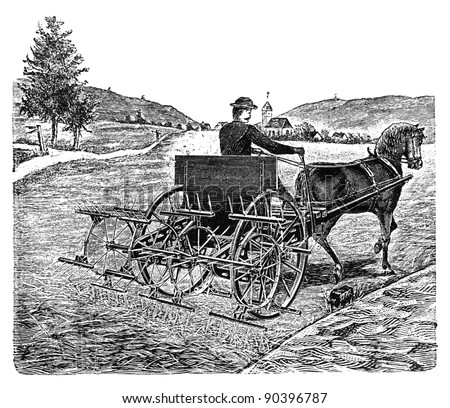 "RUSSIA - CIRCA 1897: engraving taken from an original print of ""Agricultural machinery. Atlas"", creator K.K.Veber. Shows farmer with mowing machine. St. Petersburg, RUSSIA, circa 1897"