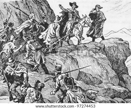 RUSSIA - CIRCA 2008: Illustration from the textbook Modern History, published in the Russia shows passage through the Andes Bolivar 19th Century, circa 2008 - stock photo