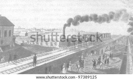 RUSSIA - CIRCA 2011: Illustration from the textbook The History of Russia, published in the Russia shows Railroad St. Petersburg - Tsarskoye Selo, Russia, 19th century, circa 2011 - stock photo