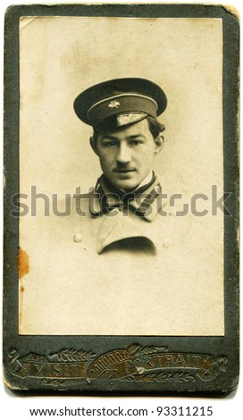 RUSSIA - CIRCA 1911: man in uniform, Station Pology, Southern Railway, Zaporizhzhya province, Russian Empire, now Ukraine, 1911