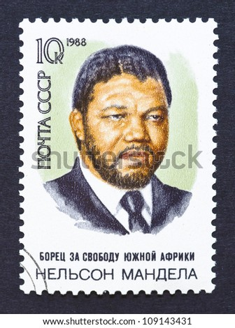 RUSSIA - CIRCA 1988: postage stamp printed in Russia showing an image of Nelson Mandela, circa 1988. - stock photo