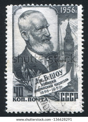 RUSSIA - CIRCA 1956: stamp printed by Russia, shows G. Bernard Shaw, circa 1956