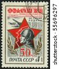 RUSSIA - CIRCA 1974: stamp printed by Russia, shows Red Star, Soldier newspaper, circa 1974. - stock photo