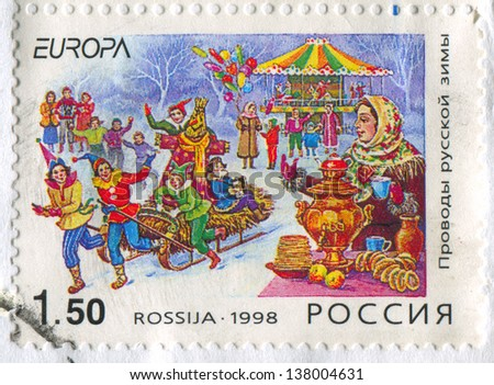 RUSSIA - CIRCA 1998: stamp printed by Russia, shows Shrovetide, circa 1998 - stock photo