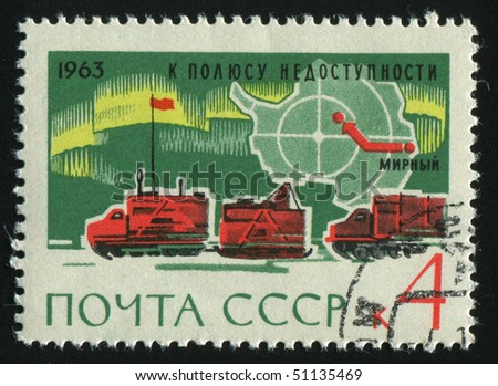 RUSSIA - CIRCA 1963: stamp printed by Russia, shows snowmobile,  circa 1963.