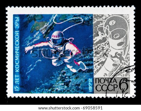 RUSSIA - CIRCA 1972: stamp printed in Cuba shows of Russian astronaut in Cosmos, RUSSIA 1972