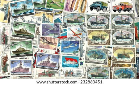 RUSSIA - CIRCA 1970-1990: Technics. Background of the postage stamps issued in the Soviet Union (USSR). - stock photo