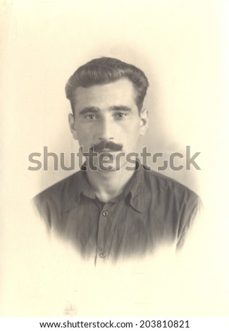 Russia - CIRCA 1956: vintage photo of a man, circa 1956 - stock photo
